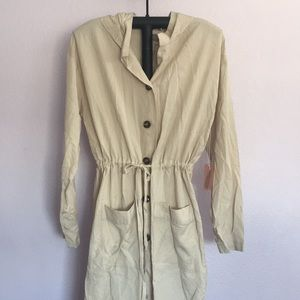 Hooded Drawstring w/Buttons Trench Coat